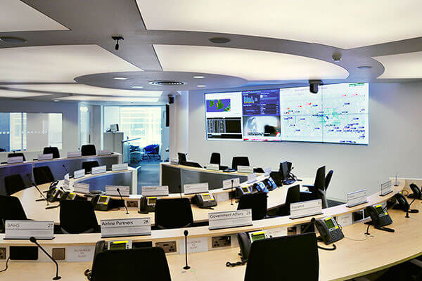 The Main CMC operations room with 4x2 video wall