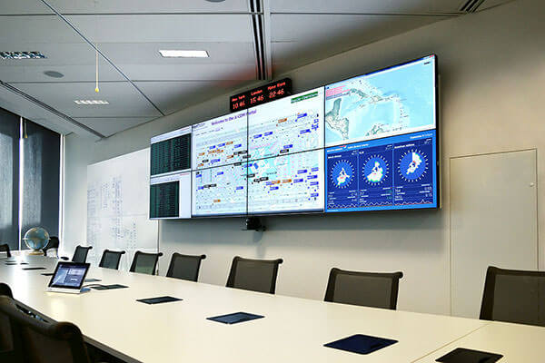 Meeting room with 2x4 video wall and touch panel